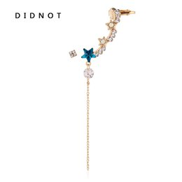 $enCountryForm.capitalKeyWord UK - DIDNOT Blue Twinkle Star Ear Clip Rhinestone Chain Ear Cuff Earrings Golden Silver Fashion Accessories Unique Women Earring Gift