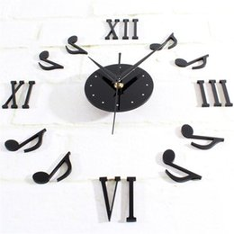 Discount mechanical light Wholesale- Music Notation Combination Decoration DIY 3D Wall Clock large reloj de pared quality first