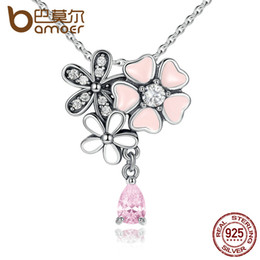 american blossoms NZ - 925 Sterling Silver Pink Heart Blossom Cherry Flower 45CM Pendants & Necklaces Women Silver Jewelry