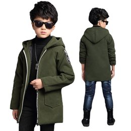 Brown Jacket For Boys NZ - Spring & Autumn Jackets For Boys Active Letter Hooded Coat Children Outerwear Big Boy Jacket 6-15Y Kids Clothes