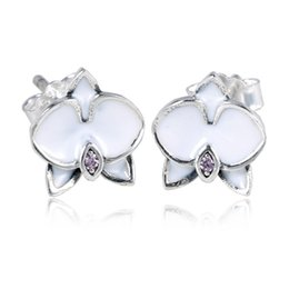 Authentic Flowers Australia - New Authentic 925 Sterling Silver Earring Enamel Orchid With Crystal Stud Earring For Women Wedding Party Gift fit Lady Fine Jewelry