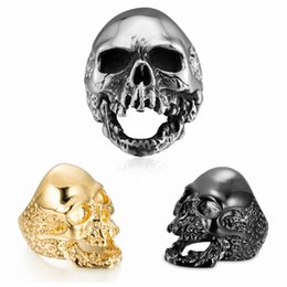 Discount golden skull ring - Punk Skull Ring Ornaments Classic Stainless Steel Ghost Head Golden Rings Men Kids European Style Fashion Jewelry NNA576