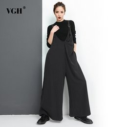 dcbcc9492b3a VGH Striped Jumpsuit Trousers For Women Spring Casual Large Big Size Wide  Leg Pants Female Long Length Loose Fashion Tide 2018