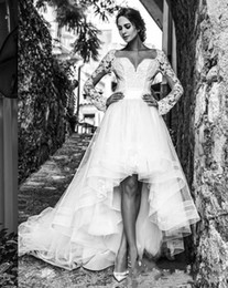 $enCountryForm.capitalKeyWord Australia - 2018 Modest High Low Wedding Dresses Long Sleeves Short Front Long Back Tulle Sash Sweetheart Garden Cheap Beach Bridal Gowns