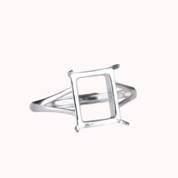 CaboChon ring settings online shopping - 925 Sterling Silver Ring Engagement Ring for Women White Gold Color x10mm Princess Cabochon Amber Agate Lapis Lazuli Setting Fine Silver