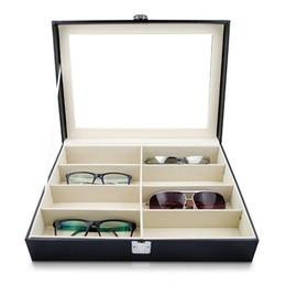 Toptan satış Gözlük Güneş Gözlüğü Saklama Kutusu Ile Pencere Suni Deri Gözlük Vitrin Depolama Organizer Toplayıcı 8 Yuvası