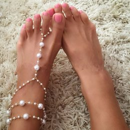 Anklet Toe Chain Australia - White Pearls Bridal Anklets Linked Toes Bridal Wedding Jewelry Barefoot Sandals Beach Decoration European Style Foot Chains Bracelate