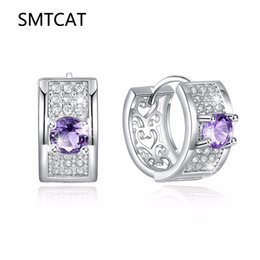 And Children Women Natural Purple Zircon Earring Studs 925 Sterling Silver Turkish Two Tone Jewelry Suitable For Men