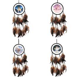 China Curtains Wholesalers UK - Indian Style Dream Catcher Pendant Wolf Totem Manual Weave Home Fashion Garden Vehicle Bohemia Pendants Arts New 8ms ZZ