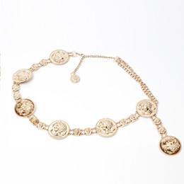 Wholesale Gowns For Women NZ - Luxury Queen Portrait Decorative Metal Waist Belts For Women Ladies Party Elastic Waistband Gold Gown Dress Fashion Belt Chain