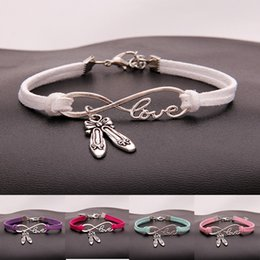 $enCountryForm.capitalKeyWord NZ - New Hot Antique Silver Dance Shoes Charms Pendant Infinity Love Multicolor Leather Bracelets Gifts For Women Fashion Dance Jewelry