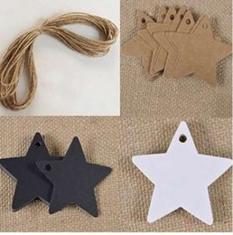 zebra pendants Australia - 100Pcs bag Star Kraft Paper Label Price Pendant Tags Gift Card Christmas Ornaments Wedding Halloween Christmas Decoration
