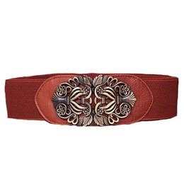 1f72629eec Retro Women S Elastic Belt Vintage Buckle Leather Ladies Wide Corset Belts  For Dress Clothing Cummerbunds Waist Riem Black Cheap