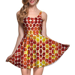 $enCountryForm.capitalKeyWord Canada - NEW 1065 Plus size Summer Women Dress Bee Sweet Honey Honeycomb 3D Prints Reversible Vest Skater Sexy Girl Pleated Dress