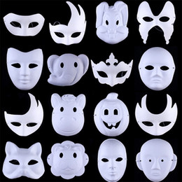 Diy paper animals online shopping - Halloween Ball White Hand Painted DIY Face Mask Environmental Protection Pulp Men Women Animal Beijing Opera Masks sx bb