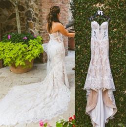 $enCountryForm.capitalKeyWord NZ - 2018 Latest Champagne Mermaid Lace Wedding Dresses Spaghetti Appliques Illusion Bodice Court Train Glamorous Bridal Gowns Plus Size Custom