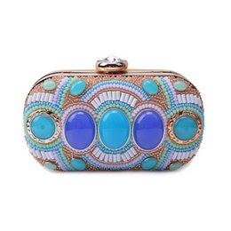 Colorful Buttons Bags UK - Vintage Colorful Bead Stones Patchwork Women Gold Evening Bag Box Clutch Purse Ladies Party Dinner Handbag Bridal Wedding Wallet