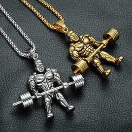 2d288a6de27c TwisTed gold chain for men online shopping - Weightlifting Man Pendant Necklace  Designer Jewelry Titanium steel