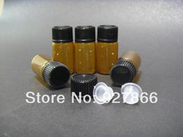 Discount amber glass bottles screw - Wholesale- Lot of 10pcs small 3ml Amber Screw Glass bottle, PP Screw lid & insert, NEW & EMPTY, small sample vials, cont