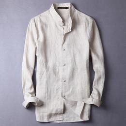 Venta al por mayor de 100% pura de lino de manga larga nueva camisa de los hombres de lino de estilo chino placa retro hebilla moda camisa de lino de los hombres camisa casual de marca