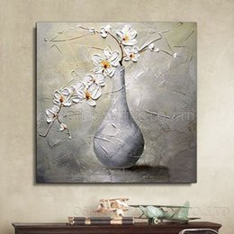 Framed canvas white Flower art painting online shopping - Modern Abstract Hand Painted High Quality Vase Flower Oil Painting on Canvas Home Decor White Flower for Wall Art Multi Sizes l57