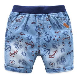China 2018 Boy Denim Shorts Kids clothing Sea rover Anchor Cotton shorts for boy wholesale Boutique clothing 2-7years suppliers
