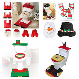 3pcs Set Happy Santa Toilet Seat Cover Rug Snowman Elf Bathroom Elk Christmas Decorations For Home Ornament