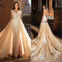 China 2018 Mermaid Bridal Capped Sleeve Jewel Neck Heavily Embroidered Bodice Detachable Skirt Wedding Dresses Low Back Long Train BA6201 cheap lace tulle low back wedding dress suppliers