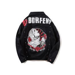Discount girls jacket rivets - ABOORUN Punk Mens Rivets Denim Jackets Hip Hop Oversized Girls Printed Jeans Jackets Mens Fashion Spring Autumn Coat x11