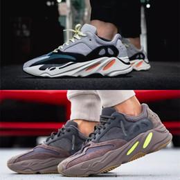 2019 с коробкой Adidas Yeezy Boost 700 волна Бегун лиловый EE9614 B75571 кроссовки Мужчины Женщины B75571 шить цвет высокое качество Легкая атлетика кроссовки США 5-11.5