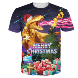 7775e6ee T-Shirt Dinosaur Spreading Holiday Cheer 3d Print MERRY CHRISTMAS Galaxy  Space T Shirt Tees Tops Outfits S-XXXXXXXL U619