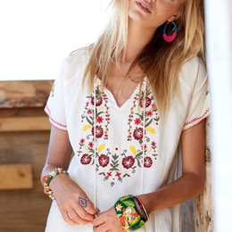 c3ebf8cff6bb6a Floral Embroidery Mexican Blouse Summer Short Wild Tie In Fronts With  Tassel Vintage Hippie Chic Ethnic Women Tops hot