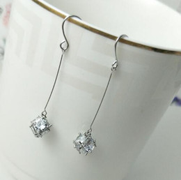 Number Blocks Canada - Hot Style European and American fashion exquisite jewelry lady zircon long block and cube shiny earrings fashion classic exquisite