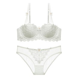 acf6cb0556fb9 Lingerie Bra and Panty Set Sexy Lace Push Up Transparent Embroidery  Underwear High Quality Deep V Ultra-thin Intimates for Lady