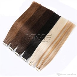 tape hair extensions 18 613 2019 - 40 Pieces Tape in Hair Extension 2.5g piece Straight Skin Weft Double Drawn Tape Human Hair #1B #2 #4 #613 VMAE HAIR