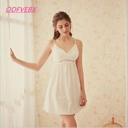 ec778cb19d White cotton nightdresses online shopping - New Sling Women nightdress  Summer Cotton Princess Sexy Chest Pad