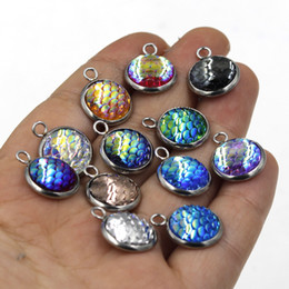 diy mermaid gifts 2019 - DIY Jewelry Stainless Steel 12MM Mermaid Scale Pendant Charms For Necklace Earrings Fish Beauty Scale Charm Jewelry Maki