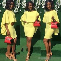 $enCountryForm.capitalKeyWord NZ - Simple Cheap 2018 Sheath Light Yellow Arabic Cocktail Dresses Jewel Neck Chiffon Above Knee Length Party Evening Dresses Short Prom Gowns