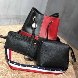 Discount plain color blue string bag - 6 colors choose wooden bead Tassel Bucket bag pu leather drawstring bag with contrast color belt handbag