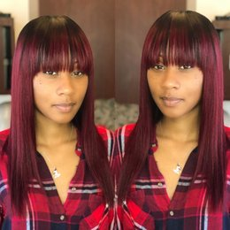 Discount 99j red straight human hair Burgundy Ombre 1B 99J human hair Lace Wig With Baby Hair Dark Root Wine Red Glueless Silky Straight With Bangs Full Lace