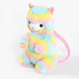 Wholesale Kids Kawaii Baby Sheep Backpack Rainbow Alpaca Doll Soft Plush Children School Storage Bag Mud Horse Bags ds hh