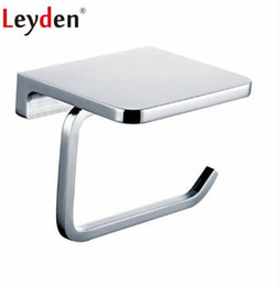 toilet roll paper UK - Leyden Stainless Steel Polished Chrome Wall Mount Toilet Paper Holder with Mobile Phone Shelf Toilet Roll Bathroom Paper Holder