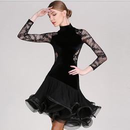 $enCountryForm.capitalKeyWord Canada - Free Shipping Black Adult Girl Latin Dance Dress Salsa Tango Chacha Ballroom Competition Dance Dress Lace Stitching Long Sleeve Velvet Dress