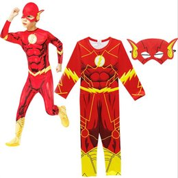 Cosplay Fantasy Shipping UK - DHL Free Shipping The FlashMuscle Superhero Fancy Dress Kids Fantasy Comics Movie Carnival Party Happy Halloween Cosplay Costumes with Mask