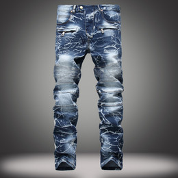 $enCountryForm.capitalKeyWord Canada - Jeans Men Designer Jeans Straight Zipper Fly Cotton Blend Solid Midweight Bleached Fashion Casual Jeans Summer Spring Streetwear