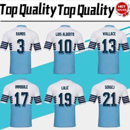 2019 Lazio Home Blue Soccer Jersey 18 19 Lazio Soccer Shirts   17 INMOBILE    21 SERGEJ   19 LULIC   10 LUIS ALBERTO Football Shirt En Ventas a535d2425b322
