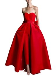 plus formal jumpsuits Canada - Women Jumpsuit Evening Dresses Plus Size 2019 Satin Bow Strapless Detachable Skirt Pantsuit Prom Dress Formal Gowns Open Back Custom Made