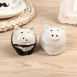 wholesale door gift box 2020 - Bride Groom Lovely piggy Birds Salt and Pepper Shaker Wedding Favor Gifts for Guest Giveaway Present Romantic Wedding Do