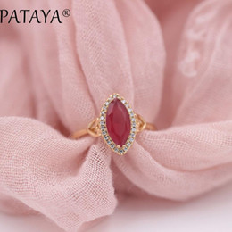 Discount fine horse - whole salePATAYA New Arrivals Horse Eye Natural Zircon Rings 585 Rose Gold Women Wedding Party Fashion Love Luxury Fine