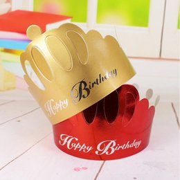 $enCountryForm.capitalKeyWord Canada - Birthday Crown Hat Paper Caps Children Head Decorations Kids Gift Toys Birthday Party Supplies